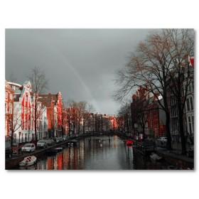 Αφίσα (μαύρο, λευκό, άσπρο, και, κόκκινος, Άμστερνταμ, ποτάμι)